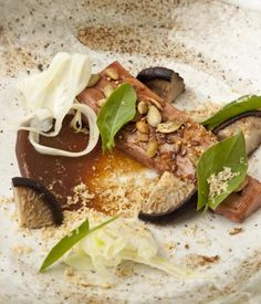 This inventive soy glazed duck breast recipe from Paul Foster is a lesson in balancing strong flavours - lightly pickled and compressed shiitake mushrooms are coupled with an umami soy glaze, nuts, seeds and a sweet date purée to bring the dish together