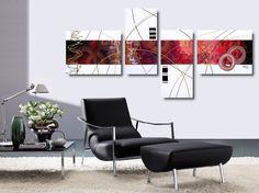 Quadri con fiori rossi dipinti a mano olio su tela con for Quadri astratti rossi
