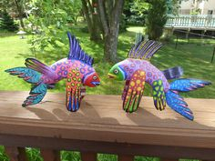 Fish Carving by Efrain Fuentes - Mexican Folkart from Oaxaca - Pink or Purple lavender. $30.00, via Etsy.