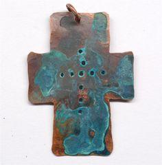"~11/2""x11/8"" Handmade Rustic Copper Cross Pendant Component PN209"