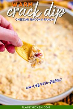 Warm Crack Dip - The ORIGINAL recipe!! Sou cream dip loaded with cheddar, bacon and ranch dip - this stuff is SO addicting! This is always the first thing to go at a party! I could make a meal out of it! Serve with Fritos and tortilla chips! Can make ahead and refrigerate before baking. #dip #partyfood #cheddar #bacon #ranch #lowcarb #keto #glutenfree Warm Crack Dip Recipe, Yummy Appetizers, Appetizer Recipes, Appetizer Dips, Plain Chicken Recipe, Sour Cream Dip, Cream Soup, Bacon Ranch Dip, Party Dip Recipes