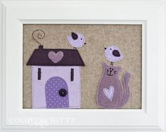 Lavender cottage by Fede Easy Sewing Projects, Sewing Crafts, Craft Projects, Craft Ideas, Felt Pictures, Fabric Pictures, Free Motion Embroidery, Cute Embroidery, Cute Crafts