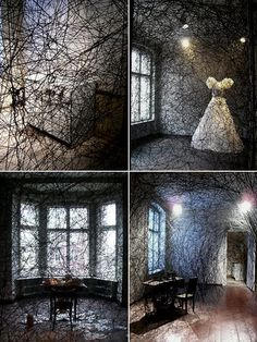 Installation in an abandoned apartment, formerly inhabited by an old lady, Berlin, 2008 - artist: Chiharu Shiota