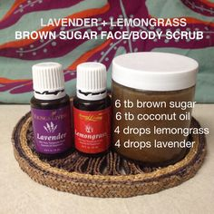 Young Living lavender + lemongrass brown sugar scrub. If you want it more scrubby and less oily it can be adjusted to the desired texture by using more sugar and less coconut oil.  Lavender specifically supports a calm mood, and soothes irritated skin, sunburns, boils, and bruises. Lemongrass may be used for carpal tunnel and tissue repair as well as reducing swelling and the appearance of varicose and spider veins. :)