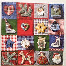 5 Paper Napkins Decoupage Quilt Collage Toys Christmas Beverage 10x10 IHR