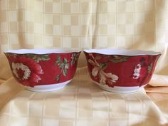 Two (2) 222 Fifth Summer Botanical-Lutece-Fleur Rouge Cereal Bowls EUC #222Fifth