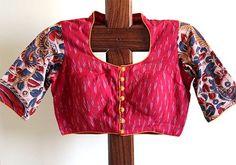 pot neck kalamkari blouse