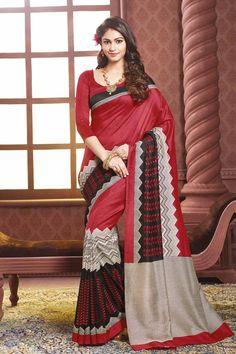 Maroon & Black Art Silk Printed Saree