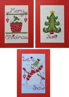 Christmas Cupcake, Tree & Snowman Cross Stitch Card Kits - £19.95 on Past Impressions | by Nia