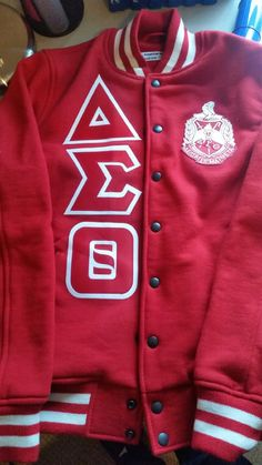 Image of Delta Fleece Letterman Jacket (All Red)