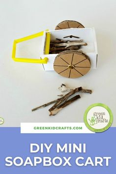 This little soapbox cart is easy to make with recycled materials and is perfect for small world play. Whether the setting is a farmyard, a castle, or a fairy garden, kids will have fun filling the cart with leaves, pebbles or small sticks to bring loads of fun to pretend play! #letsplay #happymom #playbasededucation #foundobjects #recycledcraftsforkids #recycledart #DIYcrafts
