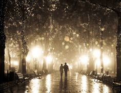 Couple walking at alley in night lights.  by Vladimir Nikulin / Family Portrait, via 500px