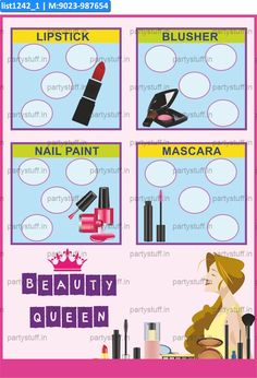 Make Up kukuba 2 Tambola Housie in Make Up theme Beauty Queen Ladies Makeup Lipstick Nailpaint Blusher Mascarra Theme Party Housie Printed Tambola Ticket Game. This lotto Bingo game is a perfect way t