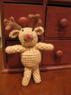 reindeer pattern from Michaels Reindeer, Teddy Bear, Toys, Crochet, Pattern, Animals, Activity Toys, Animaux, Knit Crochet