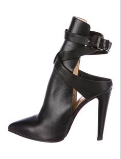 Black leather Christian Louboutin Pointipik 100 pointed-toe booties with cutout accents at sides, tonal stitching, covered block heels and buckle closures at ankles. Pretty Shoes, Beautiful Shoes, Cute Shoes, Me Too Shoes, Heeled Boots, Shoe Boots, Shoes Heels, Dress Shoes, Unique Shoes