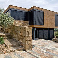 Outside Shutters, Landscape Architecture, Architecture Design, Soundproof Windows, Hurricane Shutters, Compact House, Minimal Home, Art Deco Design, Window Coverings