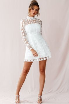 Buy the Amelia Lace Overlay Peek A Boo Dress White exclusively at Selfie Leslie! Confirmation Dresses White, Amelia, Peek A Boo, Shower Dresses, Lace Outfit, Freundlich, White Outfits, Ruffle Dress, Cat Walk