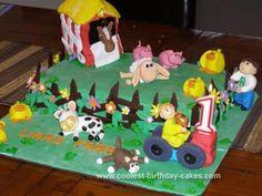 Homemade Farmyard and Barn Cake: I made this homemade farmyard and barn cake for my friends son's 1st birthday. Its a chocolate mud cake with chocolate ganache and fondant icing. The barn