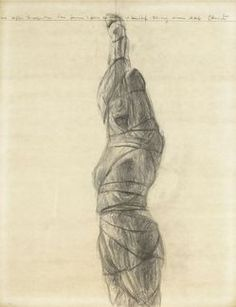 works on paper, America, A graphite on paper drawing by Christo (Javacheff) (Bulgarian/American, born Wrapped Woman, Project for the . Land Art, Christo Art, New York City Central Park, Christo And Jeanne Claude, Natural Architecture, Plastic Art, Paper Drawing, Gcse Art, Figure Drawing