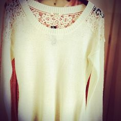 Cozy cream sweater with lace detail $42 #thisisboise #thethreadedzebra #sweater #shopping #eagle #boise More at: http://instagram.com/p/iMhkNMnLfE/