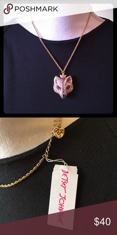 Princess Fox Pendant Necklace This rhinestone accented purple necklace features a pretty fox wearing a small crown. Would look great over a sweater, dress, or a casual outfit. Very versatile and unique! Betsey Johnson Jewelry Necklaces