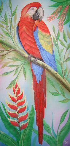 David Cubilos Parrot Drawing, Parrot Painting, Art Drawings For Kids, Bird Drawings, Dancing Drawings, Bird Artwork, Tropical Art, Color Pencil Art, Mural Art