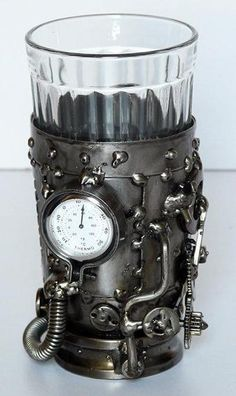 Steampunk tea glass holder with thermometer