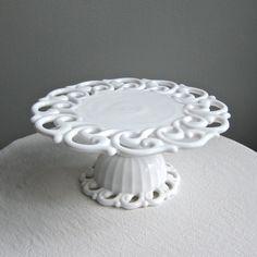 Milk Glass Cake Stand by Fostoria in the by BarkingSandsVintage