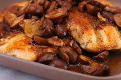 Recipe for Balsamic Chicken and Mushrooms [from Kalyn's Kitchen] #SouthBeachDiet #LowGlycemic