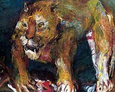 """""""Tiger Lion"""" by Oskar Kokoschka . Oskar Kokoschka's more animated, twisted Expressionist brush strokes. The highlight is his superb Tiger-Lion painted after being scared out of his wits in front of a lion's cage at London Zoo. Max Oppenheimer, Jean Loup Sieff, Kandinsky, Ludwig Meidner, Lawrence Lee, Chaim Soutine, George Grosz, August Sander, Art Gallery"""