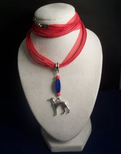 Red and Blue Ribbon Necklace Greyhound by GreyhoundCleyhounds, $14.00