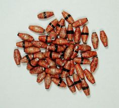 Handmade Loose Paper Beads Orange and by ThePaperBeadBoutique