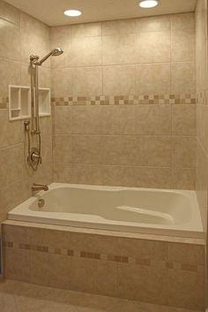 tile designs around bathtub tile around bathtub bathroom tile designs tile around tub shower combo tile ideas bathroom shower Ceramic Tile Bathrooms, Small Bathroom Tiles, Bathroom Tub Shower, Bathtub Tile, Tub Shower Combo, Bathroom Tile Designs, Bathroom Design Small, Simple Bathroom, Small Bathrooms