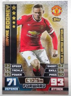 Wayne Rooney Gold Limited Edition Topps Match Attax 2014 15