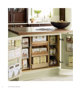 Kitchen island storage. A set up like this would better utilize space regardless of what was stored here.