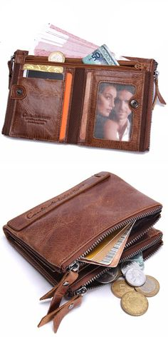 Mens #Genuine Leather Bifold #Wallet Double #Zipper Pocket Wallet #Coin #Purse Diy Wallet, Best Wallet, Pocket Wallet, Tote Purse, Purse Wallet, Ladies Purse, Designer Wallets, Wallets For Women Leather, Purse Organization