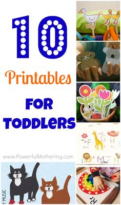 10 Printables for Toddlers -a great collection!