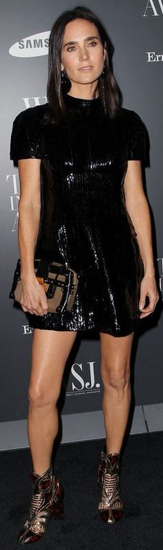 Who made  Jennifer Connelly's black sequin dress, print shoes, and handbag?