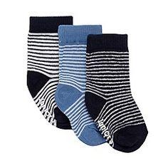 J by Jasper Conran - Designer pack of three babies navy striped socks