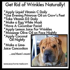 Easy tips for healthy aging.  I'm ready to get rid of wrinkles
