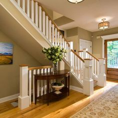 Honey Oak Trim, but paint the banisters white. White trim throughout house. Honey Oak Trim, but paint the banisters white. White trim throughout house. Open Basement Stairs, Oak Stairs, Open Staircase, Basement Entrance, Entry Stairs, Entrance Decor, Entryway Decor, Craftsman Staircase, Standard Staircase