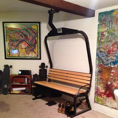 Beavercreek Ski Lift Chair Turned Into A Mud Room Bench With Basket Under The