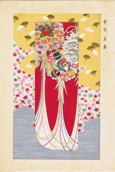 Japanese antique woodblock print Kimono Design 2