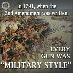 Back in the day, people had the same weapons as the government. If the government can limit us to muskets & blunderbusses, they can also limit TV, radio & the internet. Same with religion. We can practice Christianity but not Scientology. By the way, there are some guns out there which came before the U.S. constitution that weren't single shot, such as the Puckle gun, pepperboxes & the Girandoni rifle. P.S: please copy & paste this everywhere that says the 2nd amendment is referring to…