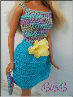 Crochet Barbie Clothes Dress Hat Purse by BarbieBoutiqueBasics