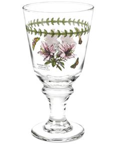 Serve refreshments in this set of wine glasses graced with the lively florals and triple-leaf border of Portmeirion's Botanic Garden glassware. A perfect set for casual entertaining, filled with good-