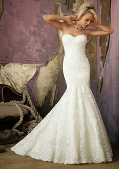 Mori Lee Strapless Lace Mermaid Wedding Dress maybe with a beaded belt beautiful!!!