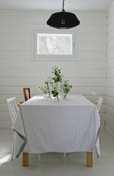 Rustic summer cottage dining area with a mix of chairs for a little extra personality. Slat Wall, Live For Yourself, Bassinet, Dining Area, Accent Chairs, Cottage, Rustic, Bed, House