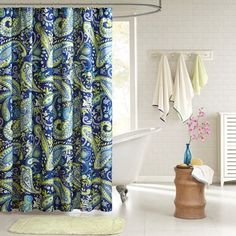 Intelligent Design Melissa Shower Curtain Melissa's large Blue and green paisley print with Lime green accents enhances the dimension and character of your bathroom. Made from polyester this shower curtain is machine washable for easy care. Boho Bathroom, Diy Bathroom Decor, Bath Decor, Bathroom Ideas, Paisley Shower Curtain, Green Shower Curtains, Intelligent Design, Paisley Fabric, Paisley Print