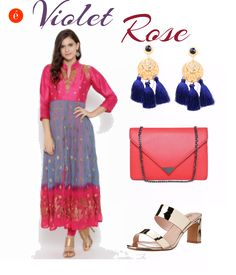 Experiment with colour blocked ethnic wear this Dussera for a cheerful and glamorous look.  #ethnic #colourbocked #glamorous #ott